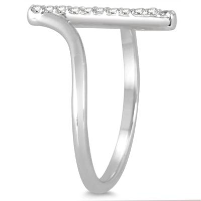 1/8 Carat TW Diamond Bar Ring in 14K White Gold
