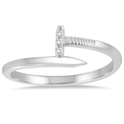 Diamond Accent Screw Ring in 14K White Gold