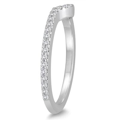 1/4 Carat TW Diamond Curved Wedding Band in 10K White Gold