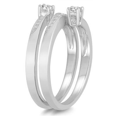 1/4 Carat TW Two Stone Diamond Wrap Ring in 10K White Gold