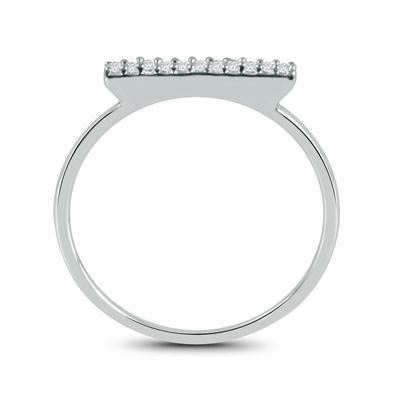 Diamond Bar Ring in 10K White Gold