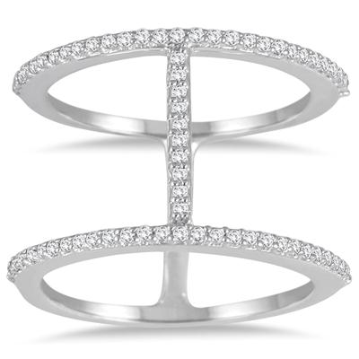 1/3 Carat TW Double Row Diamond Ring in 10K White Gold