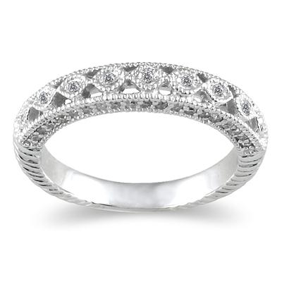 1/2 Carat Diamond Wedding Band in 14K White Gold
