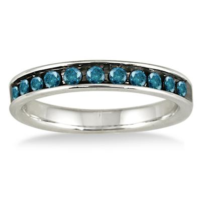 1/2 Carat TW Blue Diamond Channel Band in 14K White Gold