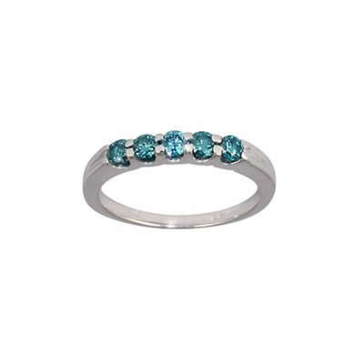 1/2 Carat White Gold Blue Diamond 5 Stone Ring in 14K White Gold