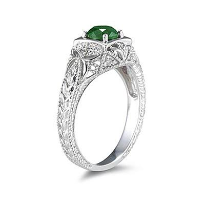 Emerald and Diamond Antique Byzantine Ring in 14K White Gold