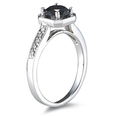 1.00 Carat Black Diamond Ring in 14K White Gold
