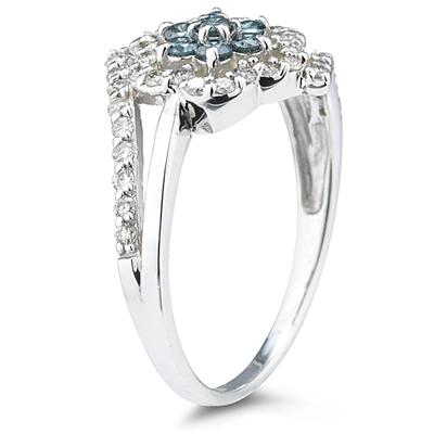 Blue and White Diamond Flower Ring in 10k White Gold