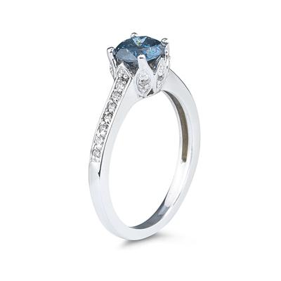 1 1/5 Carat Blue and White Diamonds Ring in 14K White Gold