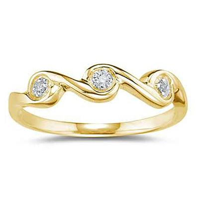 3 Stone Diamond Wave Band in Yellow Gold