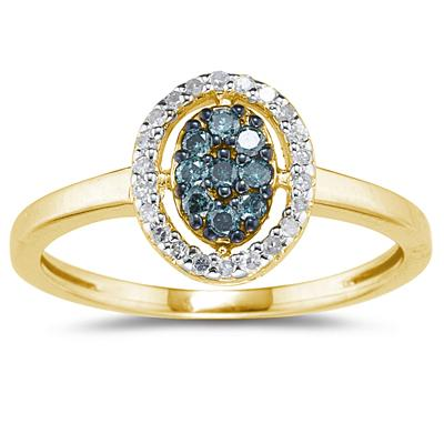 Blue and White Diamond Ring in Yellow Gold