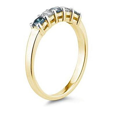 5 Stone Blue  and White Diamond Ring in 14K Yellow  Gold