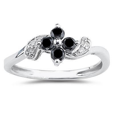 Black and White Diamond Flower Ring in 10K  White Gold