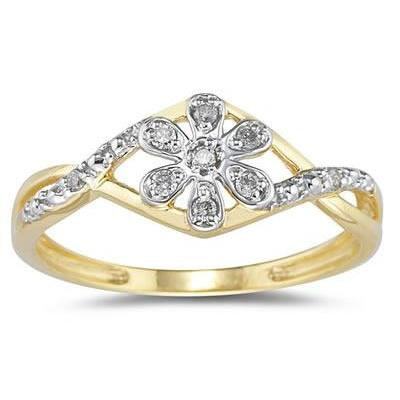 Diamond Flower Twist Ring in 10k Yellow Gold