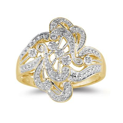 10K Engraved Antique Yellow Gold Diamond Ring
