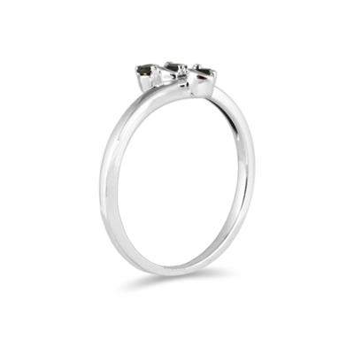 Three Stone Black Diamond Ring White Gold