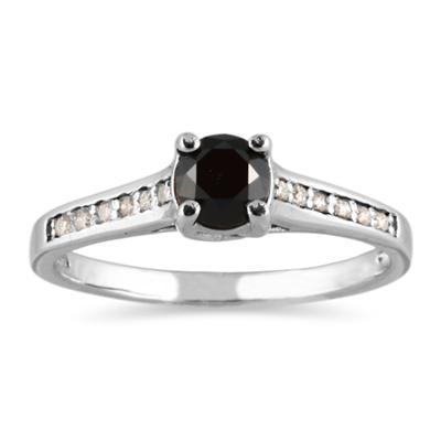 Black and White Diamond Ring in 14K White Gold