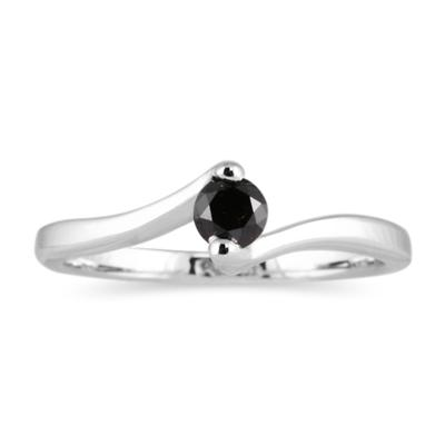 1/4 Carat Black Diamond 14K White Gold Ring