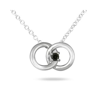 Black Diamond Circle Link Pendant in Platinum Plated Sterling Silver