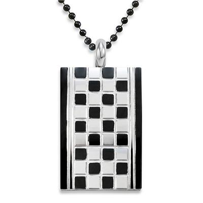 Stainless Steel Checker Board Design Dog Tag Necklace