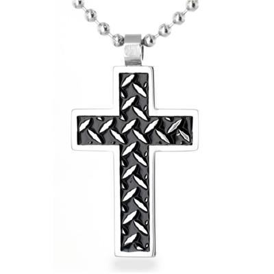 Stainless Steel Polished Black Inlay Chain Link Cross Pendant on Ball Chain with Lobster Clasp