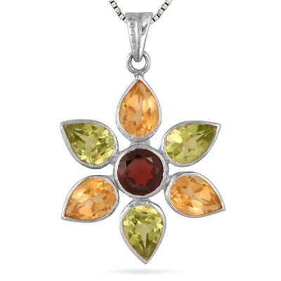 5 Carat Genuine Multi Gemstone Flower Pendant in .925 Sterling Silver