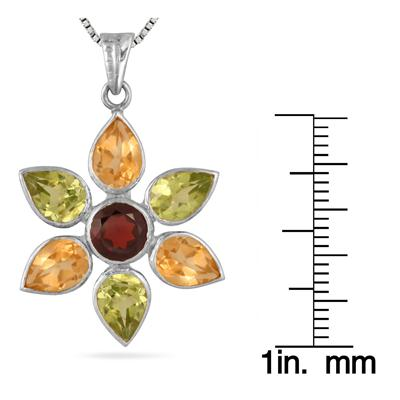 5 Carat Genuine Multi Gemstone Flower Pendant in .925 Sterling Silver