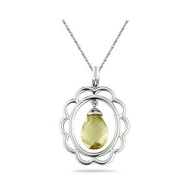4.00 Carat All Natural Lemon Quartz Pendant in Sterling Silver