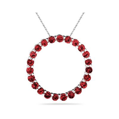 2.95ctw Ruby  Circle Pendant in Sterling Silver