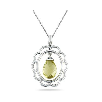 Lemon Quartz Drop Pendant in Sterling Silver