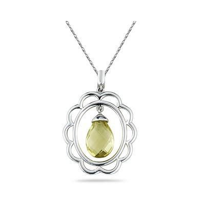 Lemon Quartz Drop Pendant in Sterling Silver