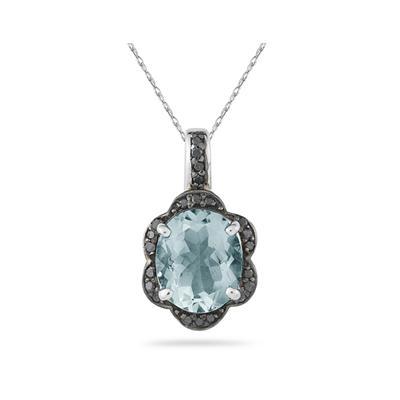 Aquamarine and Black Diamond Royal Pendant in Sliver
