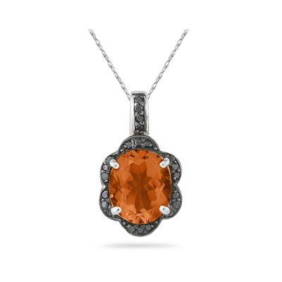 Citrine and Black Diamond Royal Pendant in Sliver