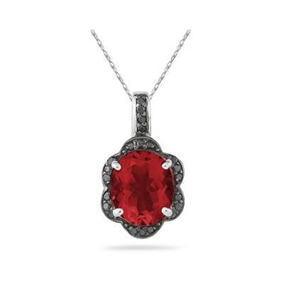 Garnet and Black Diamond Royal Pendant in Sliver