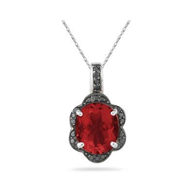 Garnet and Black Diamond Royal Pendant in Sliver