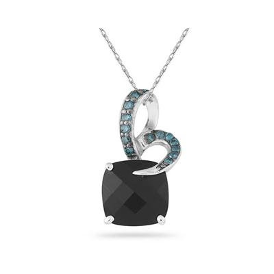 Onyx and Blue Diamond Pendant in Silver
