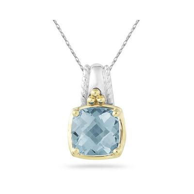 Cushion Cut Aquamarine Pendant in 14K Yellow Gold And Silver