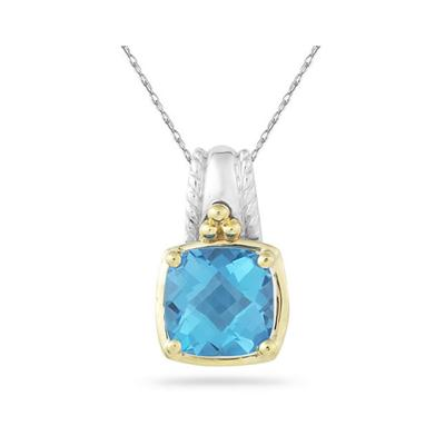 Cushion Cut Blue Topaz Pendant in 14K Yellow Gold And Silver
