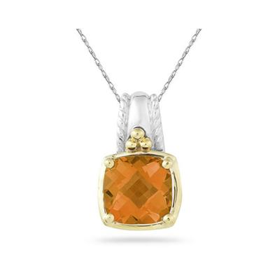 Cushion Cut Citrine Pendant in 14K Yellow Gold And Silver