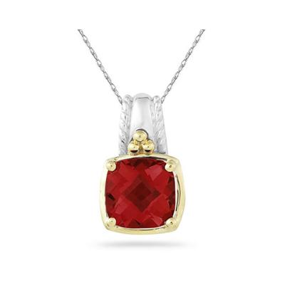 Cushion Cut Garnet Pendant in 14K Yellow Gold And Silver