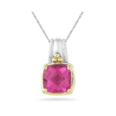 Cushion Cut Pink Topaz Pendant in 14K Yellow Gold And Silver