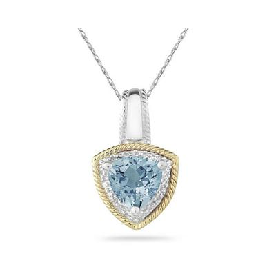 Aquamarine and Diamond Pendant 14k Yellow Gold And Silver