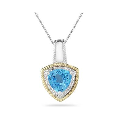 Blue Topaz and Diamond Pendant in 14k Yellow Gold And Silver
