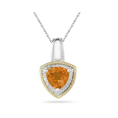 Citrine and Diamond Pendant 14k Yellow Gold And Silver