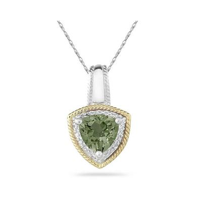 Green Amethyst and Diamond Pendant 14k Yellow Gold And Silver