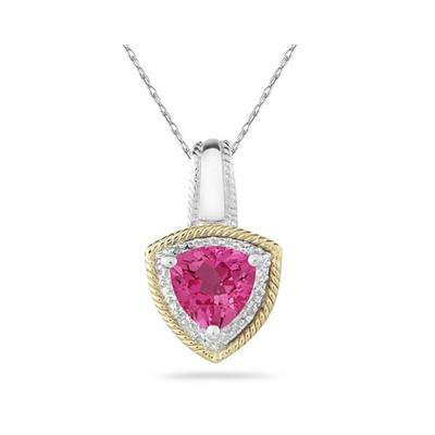 Pink Topaz and Diamond Pendant 14k Yellow Gold And Silver