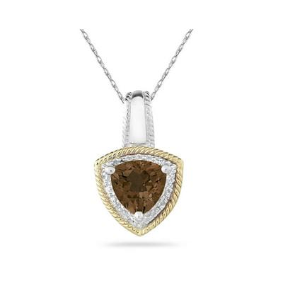 Smokey Quartz and Diamond Pendant 14k Yellow Gold And Silver