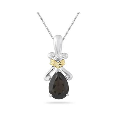 1.77Ct  Pear Shaped Smokey Quartz Pendant in 14K Yellow Gold And Silver
