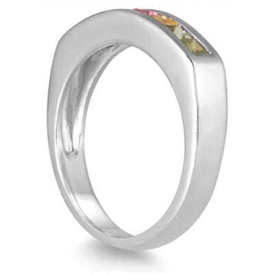 Rainbow Sapphire Channel Band in .925 Sterling Silver