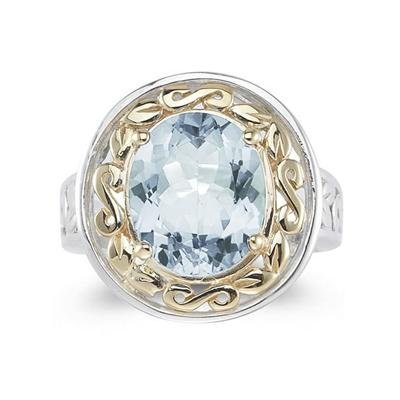 4.45ct.Oval Shape Aquamarine Ring in 14k Yellow Gold and Silver